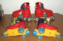 2 Pairs Fischer Price 1-2-3 Adjustable Grow with Me Roller Skates Fits Size 7-9 7 8 9 in Yorkville, Illinois