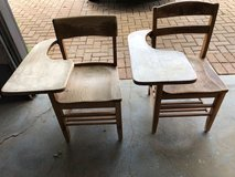 Vintage Wood School Chair with Writing Table (Adult size) - $45  2 Available in Fort Riley, Kansas