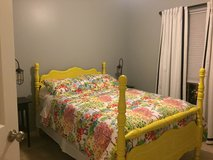 PRICE REDUCED! Sunshine Yellow w/ White Detail Double Frame Bed in Fairfax, Virginia