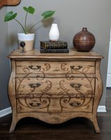 3-drawer console table with hand rubbed finish in Oswego, Illinois
