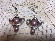 Teapot Earrings Silver with Swarovski Pearls in Mauve in Kingwood, Texas