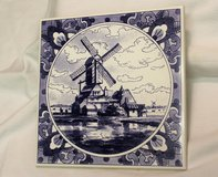 "1999 Porcelain Trivet Blue White Windmill 589 Hot Pad 6"" x 6"" Holland Dutch Collectible Kitchen ... in Houston, Texas"