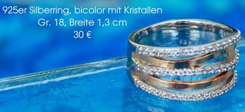 Silverring bicolored with crystals in Ramstein, Germany