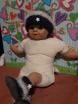 Crochet/knitted baby booties and beanie in Fort Hood, Texas