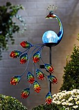 Metal and Fused Glass Peacock Solar Garden Stake in Ramstein, Germany