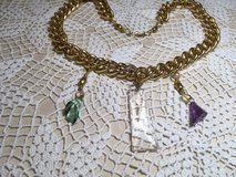 Necklace Repurposed Vintage Pieces Glass Crystal Prisms Large Gold Chain Much More Read Description in Houston, Texas