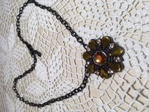 Pendant on Black Chain Round Three Colors and Shapes of Stones Champagne Citrine Topaz Adjustable in Kingwood, Texas