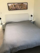 Queen bed , white leather head board with mattress in 29 Palms, California