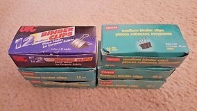 "6 BOXES) 12 UIC & Staples Medium Binder Clips 1-1/4""x5/8"" OFFICE SUPPLIES LOT in Naperville, Illinois"