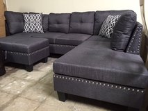 INVENTORY SALE! URBAN LINEN SOFA CHAISE SECTIONAL WITH PILLOWS + XL STORAGE OTTOMAN:) in Camp Pendleton, California