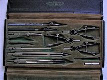 VINTAGE EUGENE DIETZGEN DRAFTING TOOLS WITH CASE - 11 Pcs - GOOD COND in Lockport, Illinois
