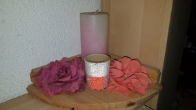 Candle light decor, flowers, wooden stand in Ramstein, Germany