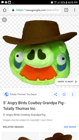 angry birds cowboy pig plush in Aurora, Illinois