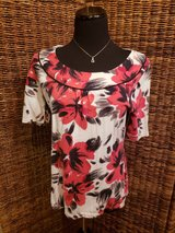 Red and Black Floral Top Merona Size Large in Plainfield, Illinois