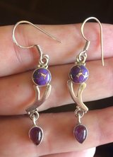 New - Dainty Purple Copper Turquoise 925 Sterling Silver Earrings in Alamogordo, New Mexico