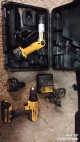 TODAY ONLY first come first serve DeWalt drill and driver set two charges extra batteries like new in Fort Riley, Kansas