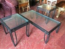 3 Pc Wrought Iron / Glass Coffee and End Table Set in Fort Polk, Louisiana