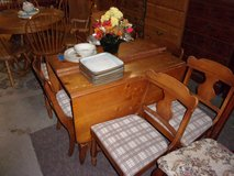 Knotty Pine Drop Leaf Table and Six Chairs Set in Fort Riley, Kansas