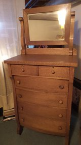 ANTIQUE OAK CHEST OF DRAWERS  WITH BEVELED MIRRORS in Chicago, Illinois