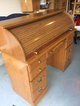 Wood Roll Top Desk Good Condition in Fort Campbell, Kentucky