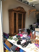 China cabinet (yard sale moved to garage) in Fort Rucker, Alabama