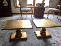 Two Vintage Gold-Toned Tables in Tinley Park, Illinois