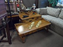 COFFEE TABLE AND 2 END TABLES (EACH HAS 1 DRAWER) SOLID WOOD in Cherry Point, North Carolina