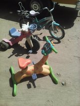 Bike, dora 3wheel, and giraffe peddle and play in Yucca Valley, California
