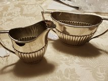 English silver plate Empire sugar bowl and cream jug in Ramstein, Germany