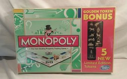 New Hasbro Monopoly Golden Token Bonus w 5 New Limited Edition Tokens in Morris, Illinois