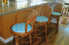 4 counter stool..rattan w/teal seats in Beaufort, South Carolina