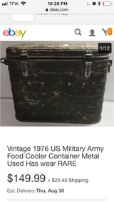 trade for chain sawVintage 1976 US Military Army Food Cooler in Moody AFB, Georgia