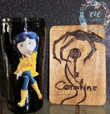 Coraline 20 oz tumbler and sign in Fort Carson, Colorado