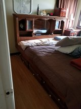 California king water bed w/new motion free mattress, mirrored head board, newer heater,liner in Oswego, Illinois