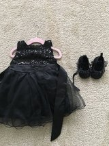 Girls black sequin/tulle dress and shoes 6-12 months in Yorkville, Illinois