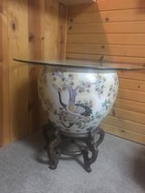 Porcelain Hand Painted Fish Bowl w/glass top in Joliet, Illinois