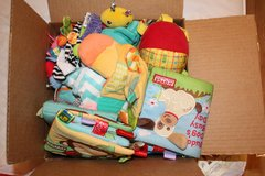 Box of toys for new babies in Fort Rucker, Alabama
