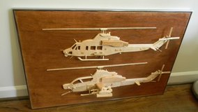 Cobra and Huey  Helicopters (wood carving) in Camp Lejeune, North Carolina