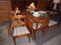 Knotty Pine Table Two Leaves and Six Chairs Set in Fort Riley, Kansas