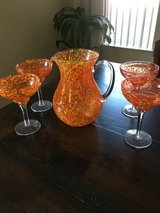 Hand blown glass pitcher and 4 margarita glasses in Fort Drum, New York