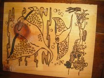 hand burned and stained ray picture on reclaimed wood in Camp Lejeune, North Carolina