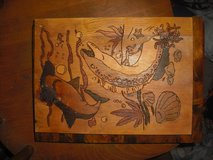 hand burned and stained undersea life picture in Camp Lejeune, North Carolina