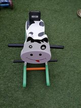 wooden rocking cow in Lakenheath, UK