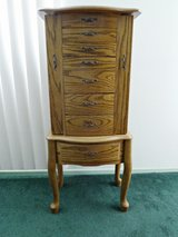 Powell Free Standing, Solid Oak, 8 Drawer Jewelry Armoire W/Queen Anne Legs in Yucca Valley, California