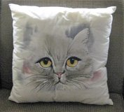 (2) Large White/Brown Cat Pillows - Approx.15x15 in Palatine, Illinois