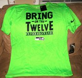 "SEATTLE SEAHAWKS - Neon Nike Team Apparel ""BRING ON THE 12"" T-Shirt (Men's Large) *** NEW in Fort Lewis, Washington"