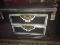 Solid wood, heavy black and patina side table, made in the USA! in Joliet, Illinois