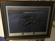 Military Art: Signed/framed USAFE F-15s Over Dover UK by Ronald Wong print in Fort Meade, Maryland