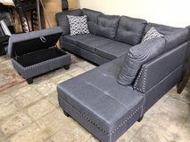 BRAND NEW! CONTEMPORARY GREY SOFA CHAISE SECTIONAL WITH XL OTTOMAN in Camp Pendleton, California