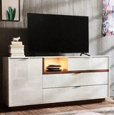 Mobel Martin White TV Stand or Cabinet Lighted with Oak Highlights new in box in Ramstein, Germany